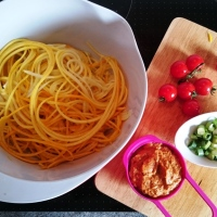 Yellow Zoodles With Vegan Tomato Pesto